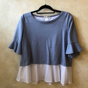 Tops - Jane and Delaney Sweatshirt w/ Built-in Blouse L